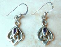Sterling Silver And Amethyst Celtic Style Earrings